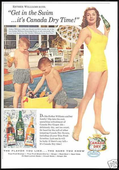 Esther Williams 2 Boys Photo Canada Dry (1956)