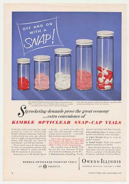 O-I Kimble Opticlear Snap-Cap Vials (1957)