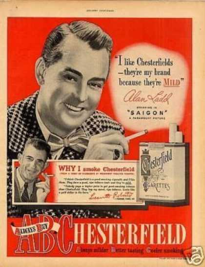 Chesterfield Cigarettes Ad Alan Ladd (1948)