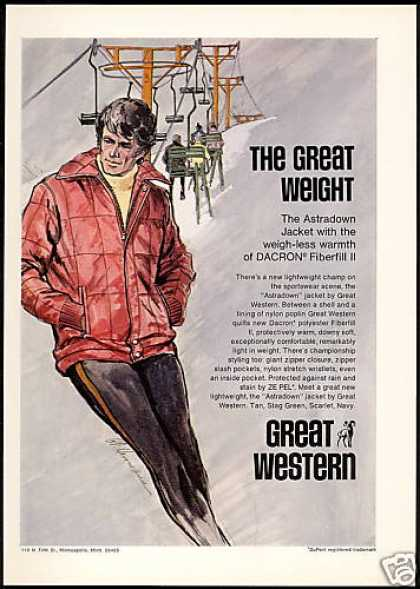 Mens Great Western Coat Snow Ski Chairlift Art (1971)