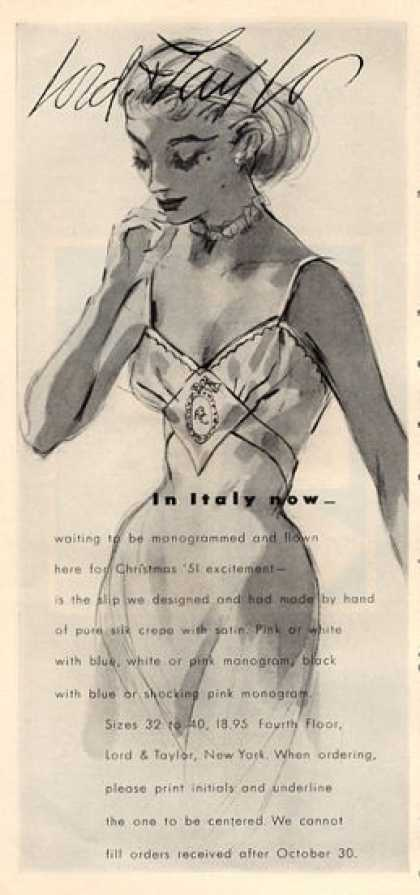 Lord & Taylor Italian Silk Satin Slip Art (1951)