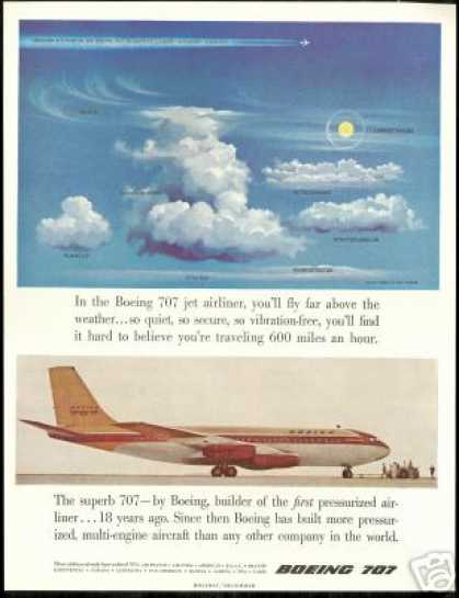Cloud Formation Names Boeing 707 Jet Airplane (1957)