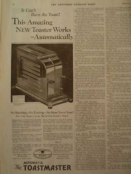 Automatic Toastmaster Toaster 1/2 page (1928)
