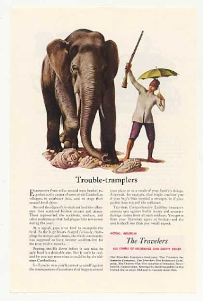 The Travelers Insurance Elephant Cambodian (1952)