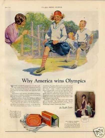 "Lifebuoy Soap Color Ad ""Why America Wins... (1925)"