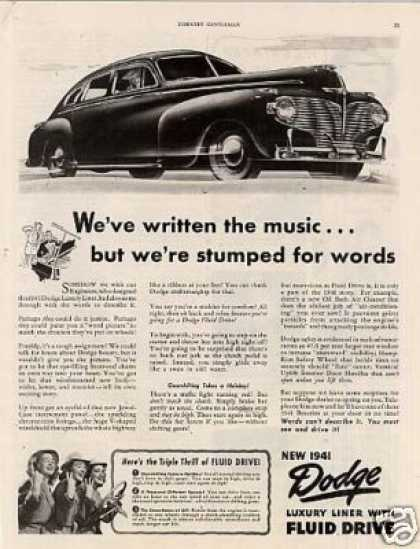 "Dodge Luxury Liner Car Ad ""We've Written the Music (1941)"