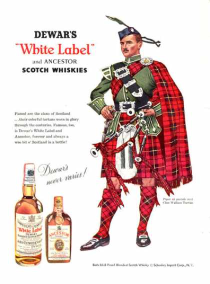 Dewar White Label Whisky Wallace Clan Tartan (1956)