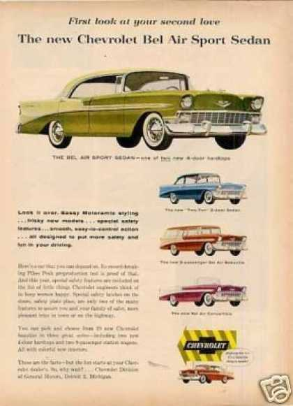 Chevrolet Cars Ad 4 Models (1956)