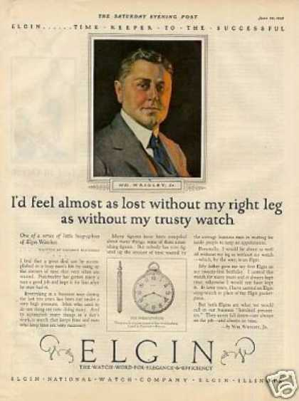 Elgin Pocket Watch Color Ad Wm. Wrigley Jr. (1925)