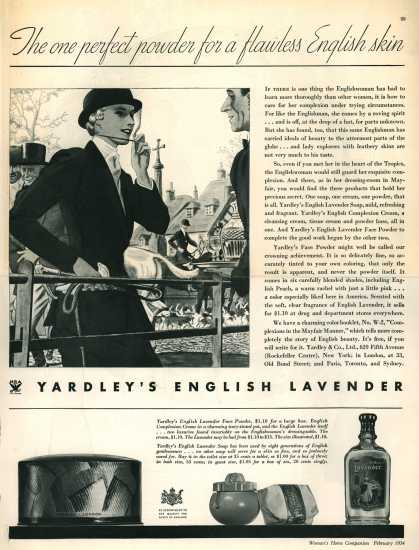 Yardley & Co., Ltd.'s Yardley's Old English Lavender – The one perfect powder for a flawless English skin (1934)