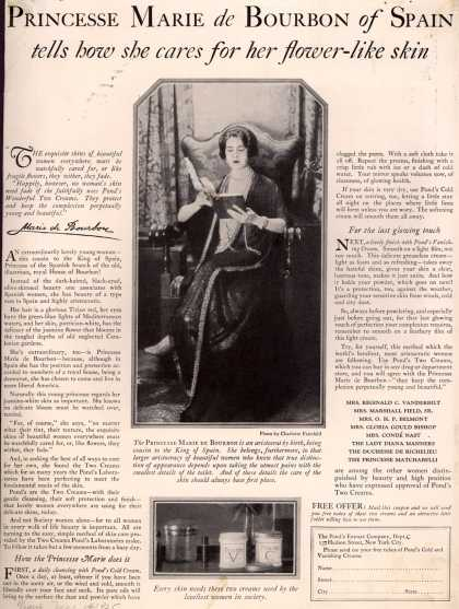 Pond's Extract Co.'s Pond's Cold Cream and Vanishing Cream – Princesse Marie de Bourbon of Spain tells how she cares for her flower-like skin (1925)