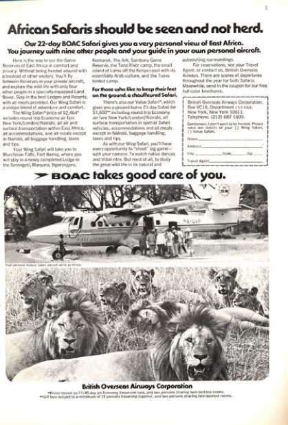 Boac British Airways Safari Plane African Lion (1972)