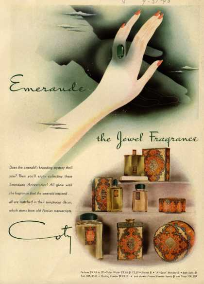 Coty's Emeraude Cosmetics – Emeraude the Jewel Fragrance (1940)
