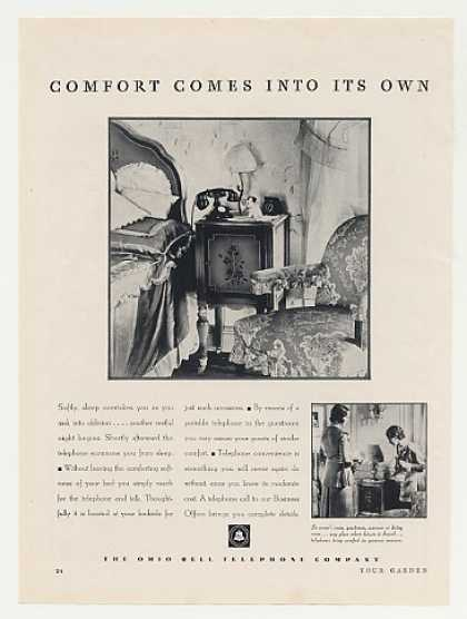 Ohio Bell Telephone Bedroom Phone Comfort (1931)