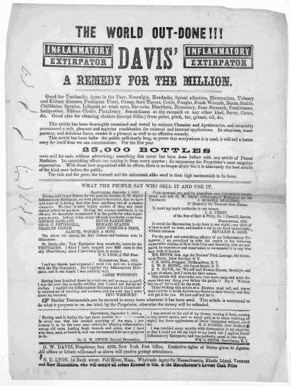The world out-done !!! Davis' inflammatory extirpator. A remedy for the million ... N. U. Lyon, 14 Bank street, Fall River, Mass. [1861]. (1861)
