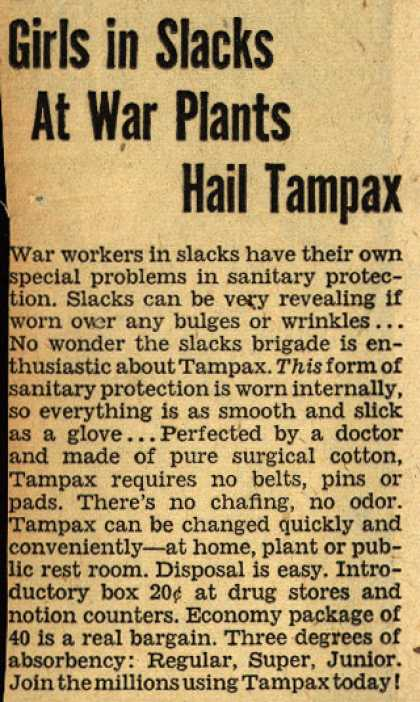 Tampax's Tampons – Girls in Slacks at War Plants Hail Tampax (1942)