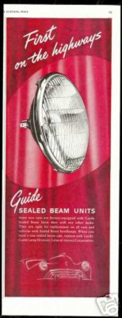 Guide Sealed Beam Headlamps Lights (1948)