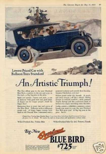 Willys-overland Blue Bird Car Color Ad Mizen Art (1924)