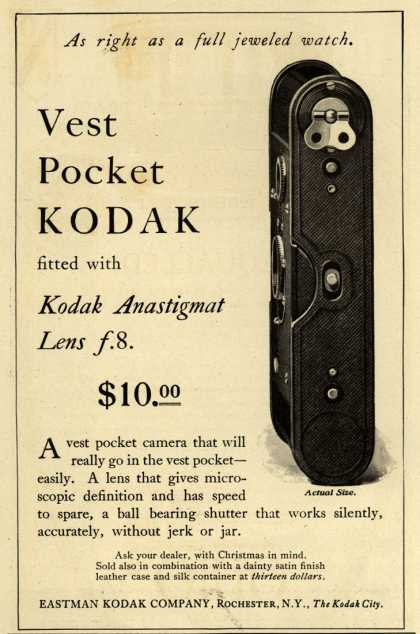 Kodak – Vest Pocket Kodak fitted with Kodak Anastigmat Lens f.8. $ 10.00 (1914)