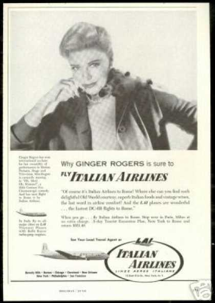 Ginger Rogers Photo LAI Italian Airlines (1957)