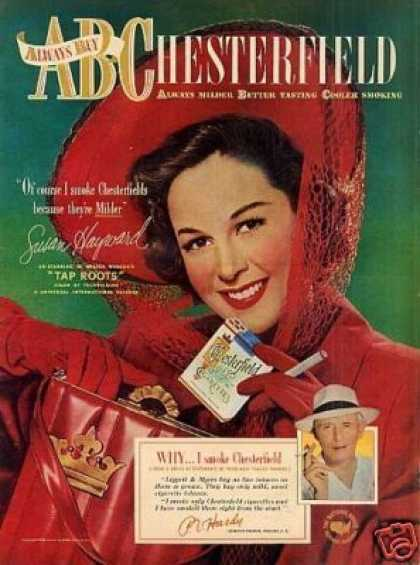 Chesterfield Cigarettes Ad Susan Hayward (1948)