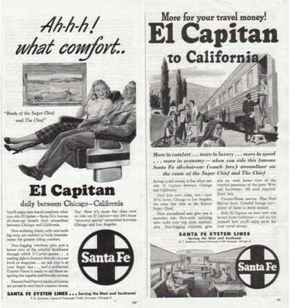 Santa Fe Railroad Ads – El Capitan to California – Set of Two – Sold (1948)