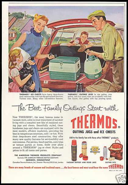 Thermos Ice Chest Family Outing Jugs (1957)