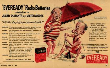 "National Carbon Company's Radio Batteries – ""Eveready"" Radio Batteries eavesdrop on Jimmy Durante and Victor Moore (1948)"