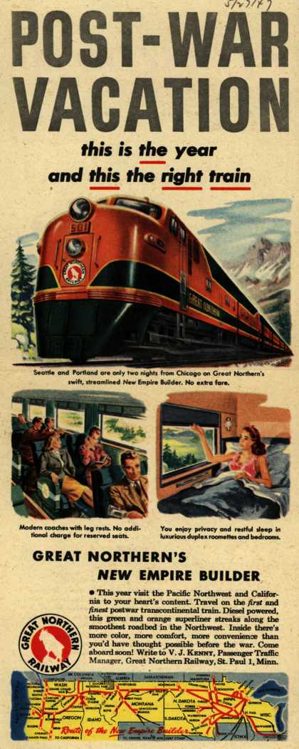 Great Northern Railway's Great Northern's New Empire Builder – Post-War Vacation (1947)