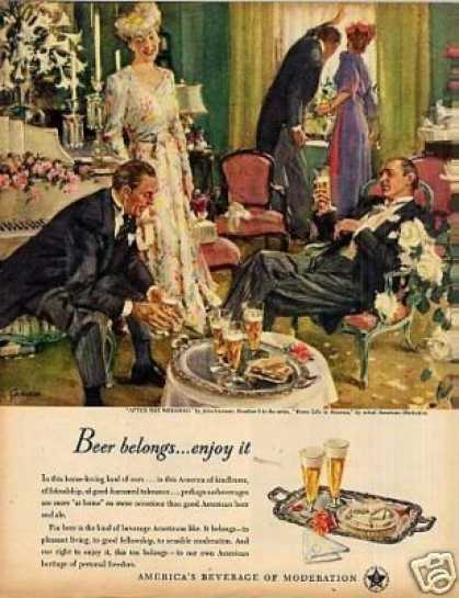 "Beer Belongs Ad ""After the Wedding"" #5 (1947)"