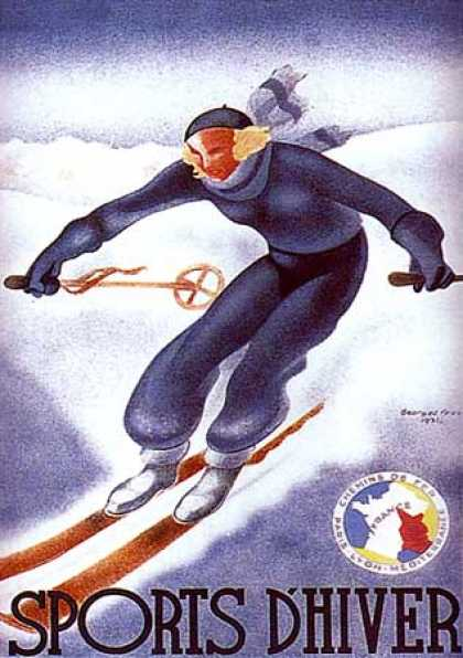 Sport d'Hiver, (Lithograph) by G. Arou (1931)