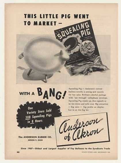 Anderson Rubber Co Squealing Pig Balloon Trade (1948)