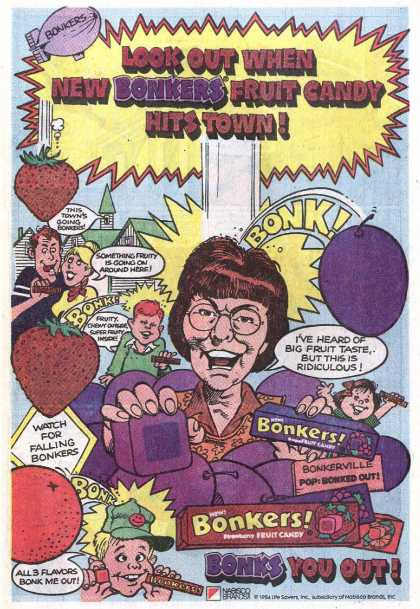 Look out when new Bonkers fruit candy hits town (1985)