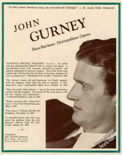 John Gurney Photo Antique Opera Booking (1939)
