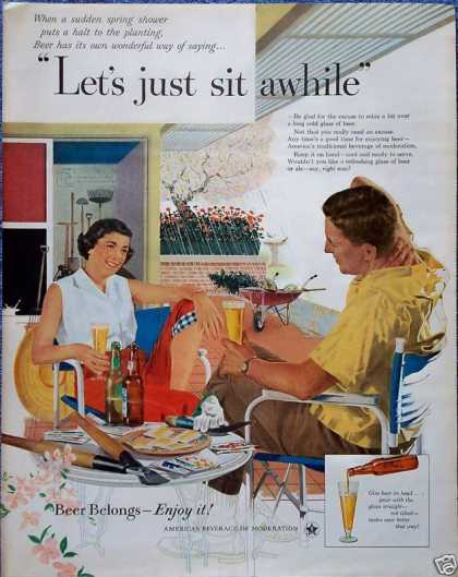 Beer Belongs Flower Plant Couple Patio Rain Sit (1956)
