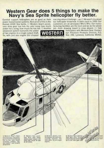 Kaman Uh2c Sea Sprite Helicopter Art Western (1968)