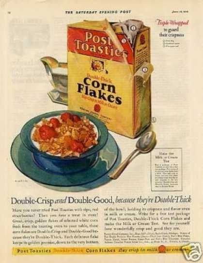 Post Toasties Corn Flakes Cereal Color (1926)