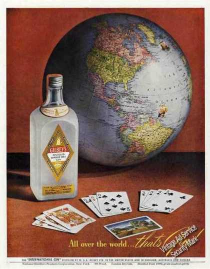 "Gilbey's Gin ""All Over the World"" Globe (1948)"