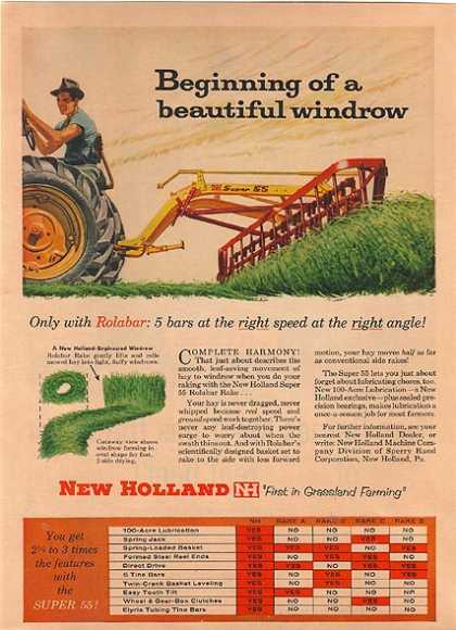 New Holland's Super 55 Rolabar Rake (1959)
