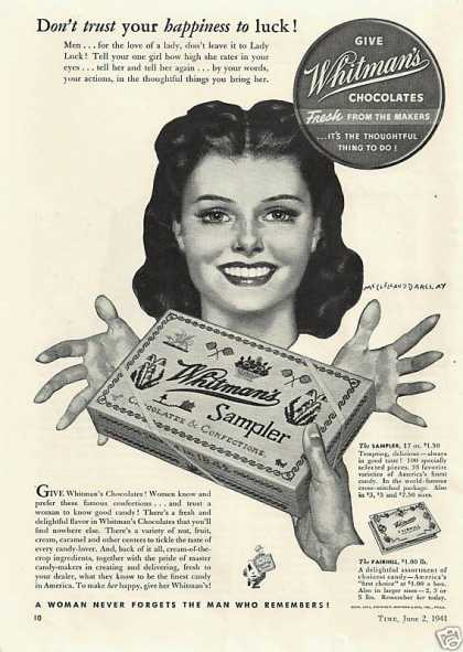 Whitmans Chocolates Fresh Sampler (1941)