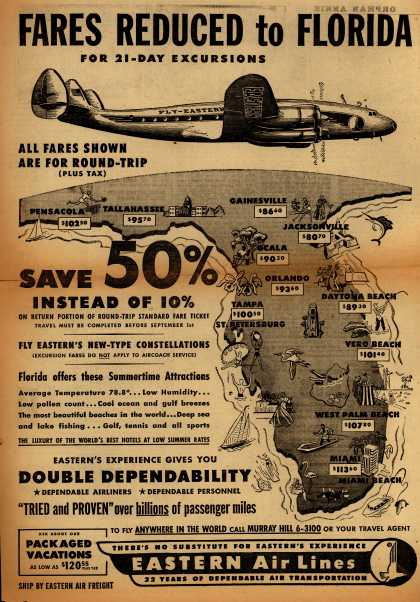 Eastern Air Line's Service to Florida – Fares Reduced to Florida for 21-Day Excursions (1950)