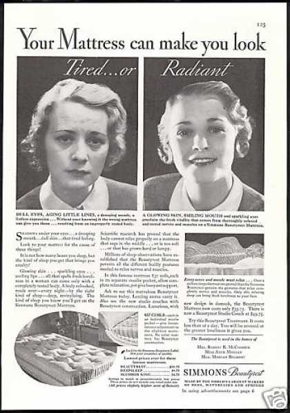 Simmons Beautyrest Mattress Tired & Radiant (1933)