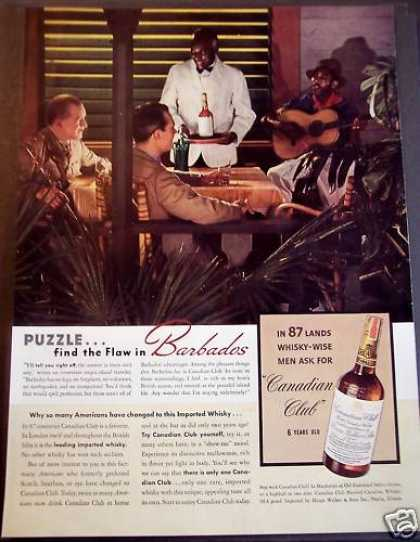 Guys Drinking Canadian Club Whisky In Barbados (1939)