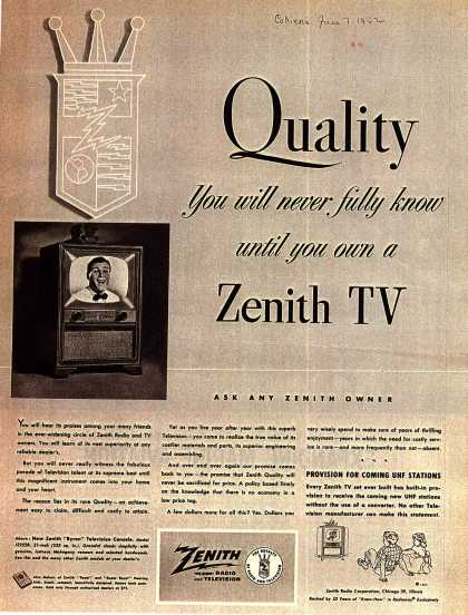 "Zenith Radio and Television's ""Byron"" console Television – Quality: You will never fully know until you own a Zenith TV (1952)"