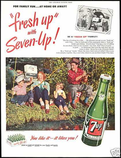 7-up Seven up Family Fishing Photo Vintage 7up (1951)