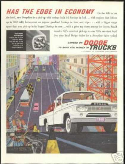 White Dodge Sweptline Truck Pickup City Art (1960)