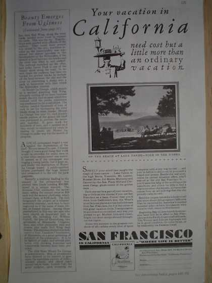 SanFrancisco California tourism ad Lake Tahoe (1930)