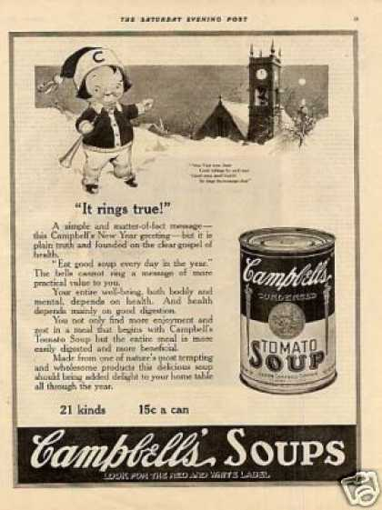 "Campbell's Tomato Soup Ad ""It Rings True"" (1921)"