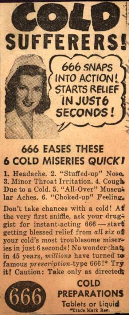 Unknown's 666 Cold Preparations – Cold Sufferers (1947)