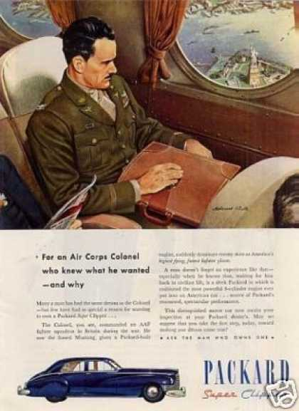 "Packard Super Clipper Car Ad ""For an Air Corps... (1946)"